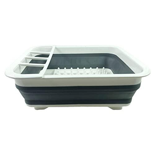 Cesta plegable para platos plegable de silicona para lavar verduras y frutas, colador de cocina plegable para drenar cocinado (tamaño: 36,5 x 31,5 x 13 cm; color: gris)