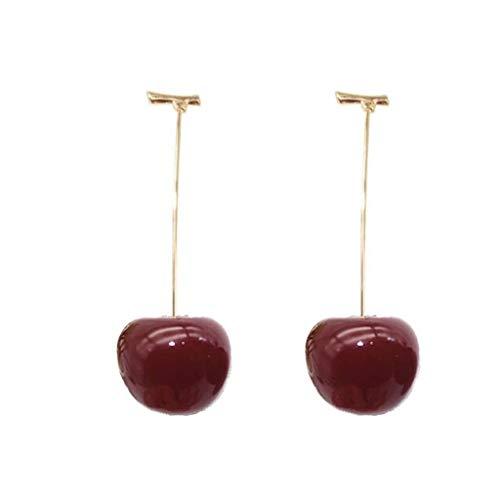 WJCCY Pendientes de joyería de Color Rojo Cereza de Frutas Pendientes de Gota de Oro cuelga los Pendientes de la aleación del Encanto for Las Mujeres, Rojo