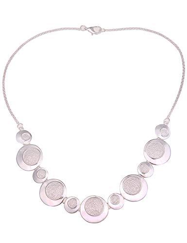 Leslii Damen-Kette Statement Collier-Kette runde Anhänger Kurze Halskette Silberne Modeschmuck-Kette in Silber Matt Glanz