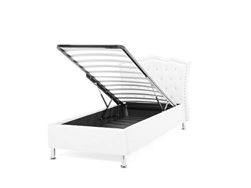 Glamouröses Bett weiß mit Bettkasten Kunstleder hochklappbar 90 x 200 cm Metz