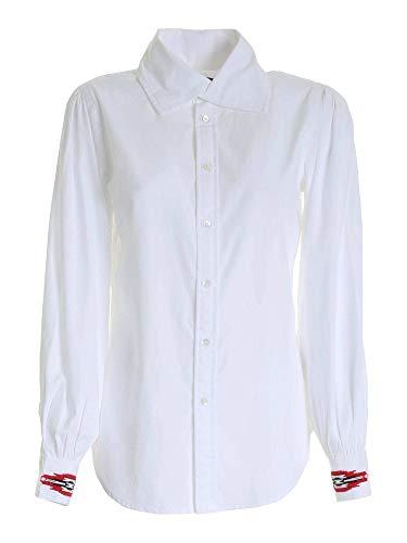 Camicia Bianca Con RICAMI A CONTRASTO 211801087001 Bianco Donna 0