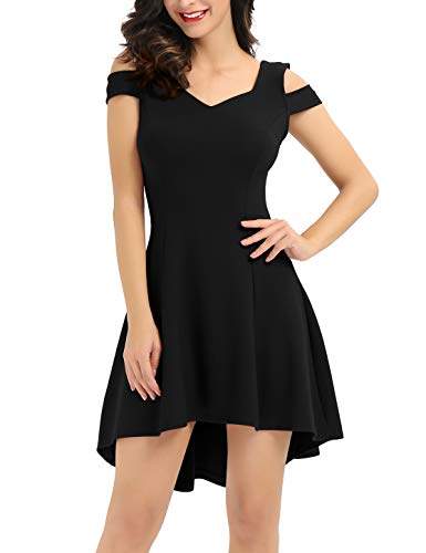 InsNova Black Cocktail Dresses for Fall Homecoming Evening Party Wedding Guest High Low Cute Dresses for Women Juniors Teen