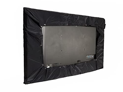 Covermates Outdoor Half TV Cover - Light Weight Material, Weather Resistant, Cinching Drawcord, TV Covers-Black
