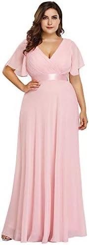 Ever Pretty Plus Size Chiffon Bridesmaid Dresses Long Prom Dresses Pink US18 product image