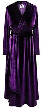 Plus Size Retro Velvet Robe Dark Purple 4X