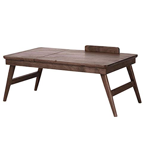 XiuHUa Opvouwbare tafel, houten luie benodigdheden opklapbare tafel draagbare kleine salontafel laptop opvouwbare tafel notitieboekje lade zwarte walnoot lade, 600X350X280mm /tafel