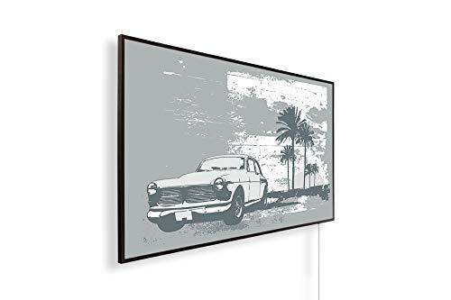 Könighaus Fern Infrarotheizung – Bildheizung in HD mit TÜV/GS - 200+ Bilder - Mit Thermostat - 7 Tages-Programm - 800 Watt -162. Cuba Auto Black Edition