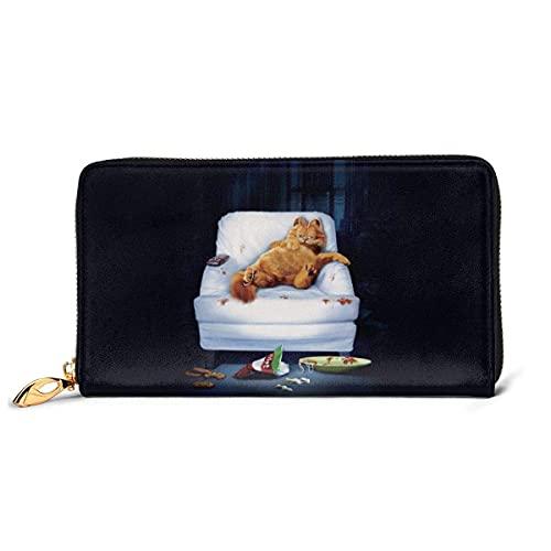 Hirola Garfield - Cartera de piel auténtica con diseño de dibujos animados para sofá de sueño, con cremallera RFID para chequera,...