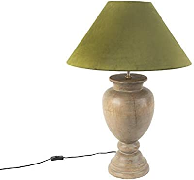 Qazqa - Country Table Lamp | Table Light with 55cm Velvet Shade Moss Green - Clover - Country - Suitable for LED E27 | 1 Light - Wood Table lamp - Suitable for Living Room | Bedroom |