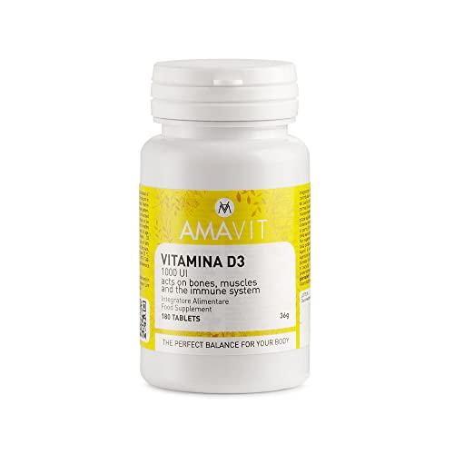 AMAVIT Vitamina D 1000UI 180 Tabletas [Suministro durante 6 meses] MADE IN ITALY Suplemento Vitamina D3 para las Defensas Inmunitarias Sin Gluten y Lactosa | Refuerzo del Sistema Inmunológico