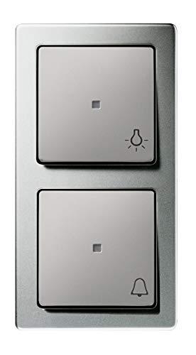 Gira Komplett-Set 2fach Taster Kombination mit Lichtschalter und Klingel mit Symbolaufdruck, mittig beleuchtet in Edelstahl - inkl. 2fach Rahmen - echte Metalloberfläche - Unterputz - Tastschalter