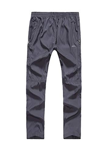 Insun Homme Pantalon Long Thermique avec Cordon de Serrage pour Yoga,Fitness,Gym,Randonnée,Jogging Gris 2 XL