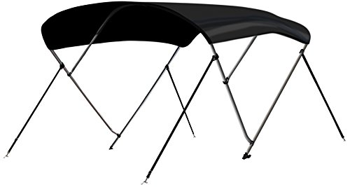 Leader Accessories 3 Bow Black 6'L x 46' H x 54'-60' W Bimini Top Boat Cover 4 Straps for Front and...