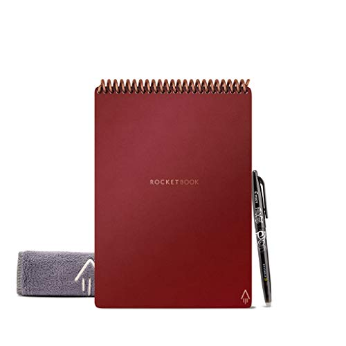 """Rocketbook Flip - with 1 Pilot Frixion Pen & 1 Microfiber Cloth Included - Scarlett Cover, Executive Size (6"""" x 8.8"""")"""