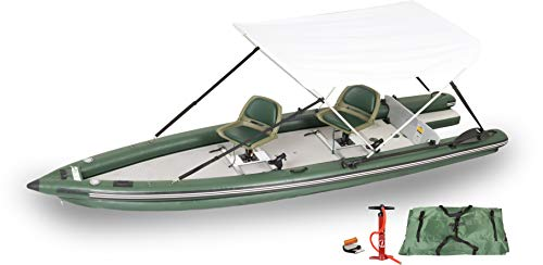 Sea Eagle FSK16 FishSkiff16 Inflatable Frameless Fishing Boat 2 Person Swivel Seat Canopy Package