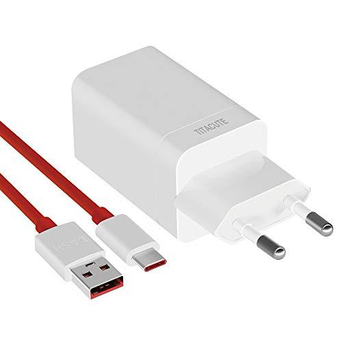 TITACUTE Dash Cargador para OnePlus 6, Fast Charge Power Bundle con 3.3 FT/100 cm de Tipo C Cable de Carga rápida Fuente para OnePlus 5T 5 3T 3, vooc Carga para OPPO Find X