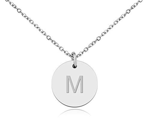 Nuoli® Collana con lettera in argento (45 cm), bella collana con lettere dell'alfabeto per donne e Acciaio inossidabile, colore: Lettera M., cod. NU142