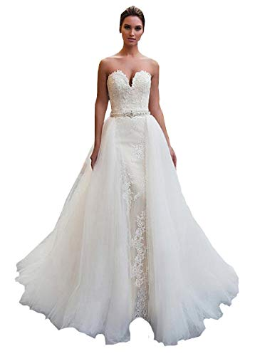 iluckin 2 Stück Damen Hochzeitskleider Spitze Tüll Brautkleider mit abnehmbarem Schleppe Zug Große Größen Partykleid Abendkleid