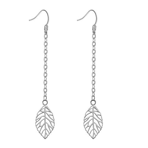 Amilril Earrings, 925 Sterling Silver Hollow Leaf Hook Drop Dangle Floral Earrings, Fine Jewellery Elegant Gift Box