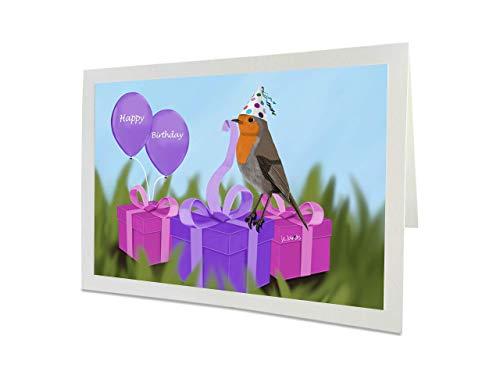 jz.birds Vogelmotiv Geburtstagskarte Mädchen Rotkehlchen packt Geschenke aus Grußkarte mit Umschlag