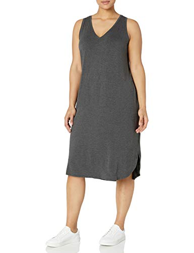 Amazon Brand - Daily Ritual Women's Plus Size Jersey Sleeveless V-Neck Dress, 2X, Charoal Heather Grey