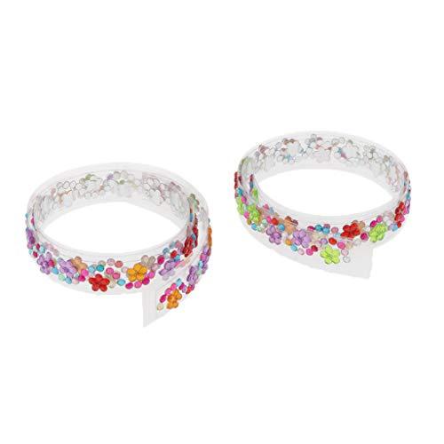 Harilla 2x Cinta Washi de Diamantes de Imitación para Decoración de Envoltorios de Regalos, álbumes de Recortes, Adornos DIY - Flores