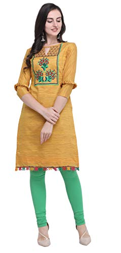 EthnicJunction Women's Cotton Dress Material (EJ3009-1004 Kurti Fabric_Mustard_FS)