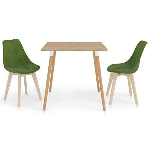 vidaXL Essgruppe 3-TLG. Esszimmergruppe Esszimmergarnitur Tischset Sitzgruppe Esstischset Küchentisch Esszimmertisch Esstisch mit 2 Stühlen Hellgrün