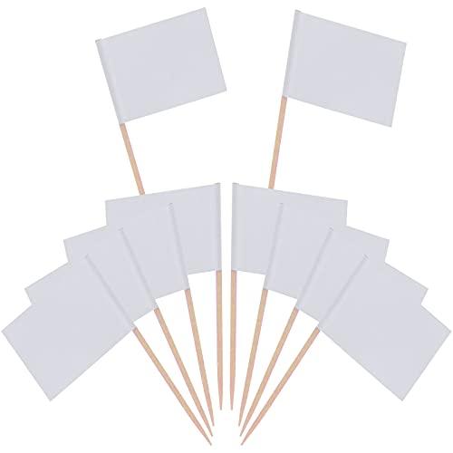 Banderas de palillo de dientes, 100 Piezas Etiquetas Pequeñas para tartas en blanco púas para cupcakes Decorar Tartas para bodas, Navidad, cumpleaños, fiesta de bienvenida al bebé White ✅