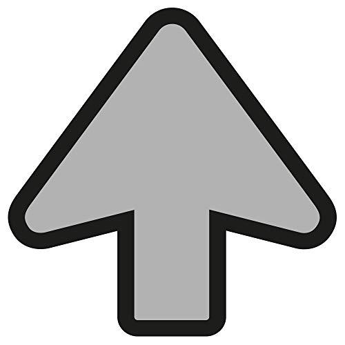 10 pegatinas para el suelo con flecha, color gris y negro, 20 x 20 cm, señales de seguridad para distanciamiento social, pegatinas para el suelo, resistentes al agua y a los rayos UV, 357507