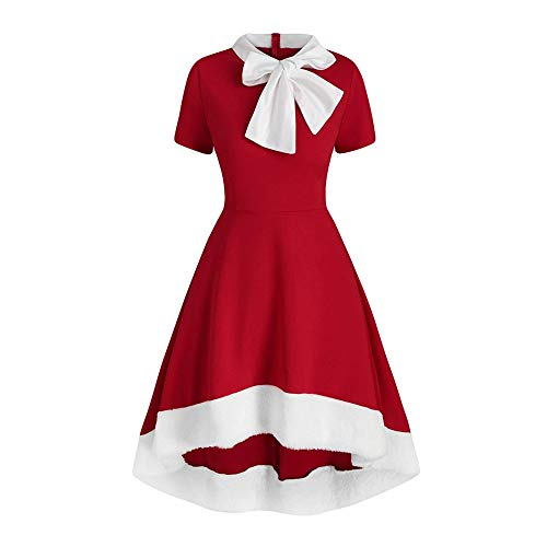 YBWZH Kleider Damen Einfarbig Swing Kleid Partykleid Flare Kleid Schluppenkleider mit Bow Kurzarm Plisseekleid Faltenrock Frühlings Freizeit A-Linie Ballkleider Elegant Cocktailkleid