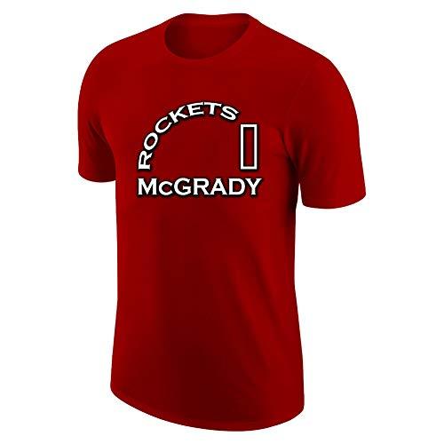 GAOZHENZHEN Camiseta Deportiva de Baloncesto Sudaderas de Manga Corta Tracy McGrady # 1 Camiseta de Entrenamiento para Aficionados Viene con una Gorra de béisbol Negra. (Color : Red, Size : XX-Large)