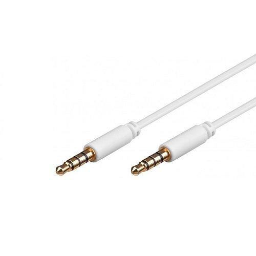 Cable de Audio Estereo Jack 3.5 Macho-Macho 4 Pin 1 Metros Blanco, Cablepelado
