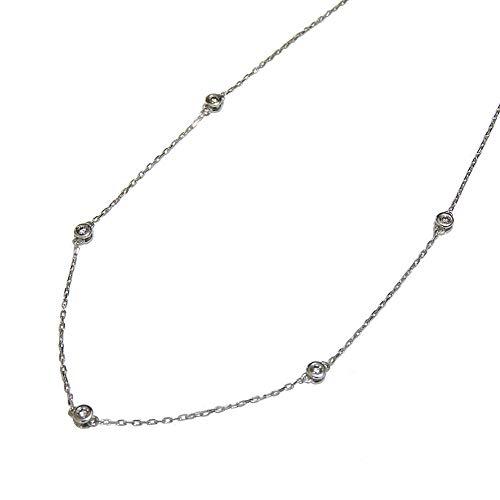 真珠の杜 ダイヤモンド 0.20 ホワイトゴールド K18 ステーション ネックレス レディース
