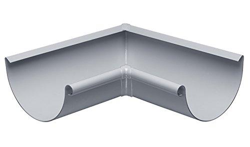 INEFA Rinnenwinkel NW 180, 90°, grau, Wulst außen oder innen, halbrund, Kunststoff, Regenrinne, Dachrinne