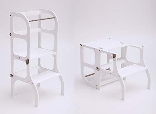 """Torre di apprendimento multifunzionale """"Step'n sit"""" conforme al metodo Montessori di colore bianco, tavolo e utensili da cucina certificati CE, realizzato nell'UE"""