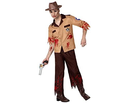 ATOSA disfraz policia zombie marron hombre adulto M