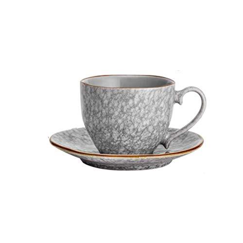Z-LIANG Copas Cerámica Taza y platillo conjunto, la taza de piedra agrietada, Oficina Taza de té, regalo creativo de la taza de la leche, harina de avena Desayuno rojo taza de té platillo Set, taza gr