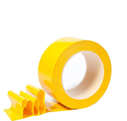 """SKEMIX 2 Inch Floor Tape for Marking Factories, Warehouses, Workshops, Public Areas with Aggressive Adhesive & Flexible Backing, Yellow 2"""" Width 36 Yards Length"""