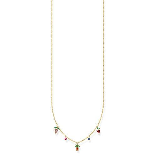 Thomas Sabo Charm Club Silver Gold Plated Zirconia Multicoloured Fruits Necklace KE2099-488-7-L45V