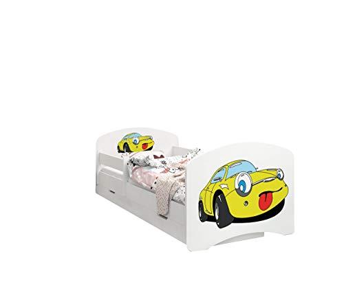 Happy Babies - LIT D'ENFANT DOUBLE FACE AVEC TIROIR Design moderne avec bords sécurisés et matelas en mousse antichute 7 cm (72. Une Petite Voiture Jaune, 190x90)
