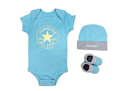 Converse Baby Girls All Star Bodysuit, Hat & Socks 3 Piece Set (Aqua(MC0028-U5L)/White, 6-12 Months)