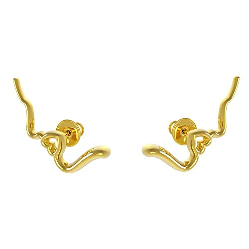 Cute Heartbead Crawler Climber Stud Earrings for Women Girls 925 Sterling Silver Minimalist Heart Symbol Cuff Studs Fashion Personalized Valentine Jewelry Gift for Lover Girlfriend (Gold)