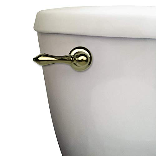 DANCO Decorative Toilet Tank Lever, Right Front/Side Mount Handle Replacement, Polished Brass (89451A)