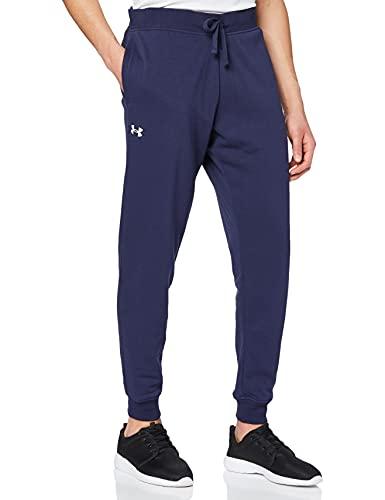 Under Armour UA Rival Cotton Jogger Pantalones Deportivos, Azul (Midnight Navy/Onyx White), L para Hombre