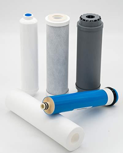 FILTROS + MEMBRANA para Equipos de Osmosis inversa estándar, Blanco | Medida Universal (valido para todos los equipos de ósmosis domestica) | iFONT