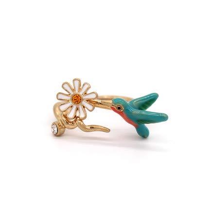 Haespsd geglazuurde ring bos kleur bloem en vogel ring opening verstelbaar