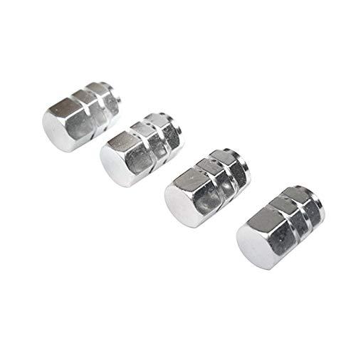 WFZ17 4 piezas de llantas de aluminio para llantas de neumáticos, tapas de válvula de aire, cubierta de vástago para coche, bicicleta, decoración de color plateado