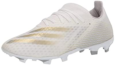 adidas mens X Ghosted.3 Firm Ground Soccer Shoe, White/Gold/Silver, 8.5 US