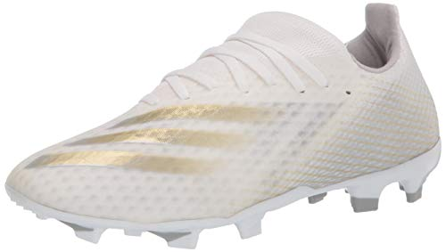 adidas mens X Ghosted.3 Firm Ground Soccer Shoe, White/Gold/Silver, 6.5 US